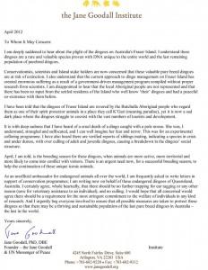 Jane Goodall letter.